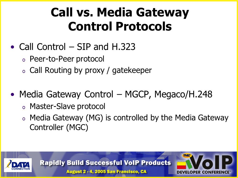 Call vs. Media Gateway Control Protocols
