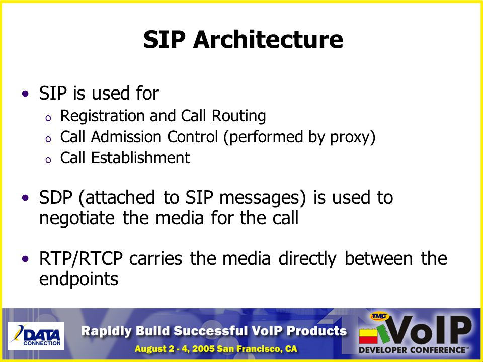 SIP Architecture SIP is used for