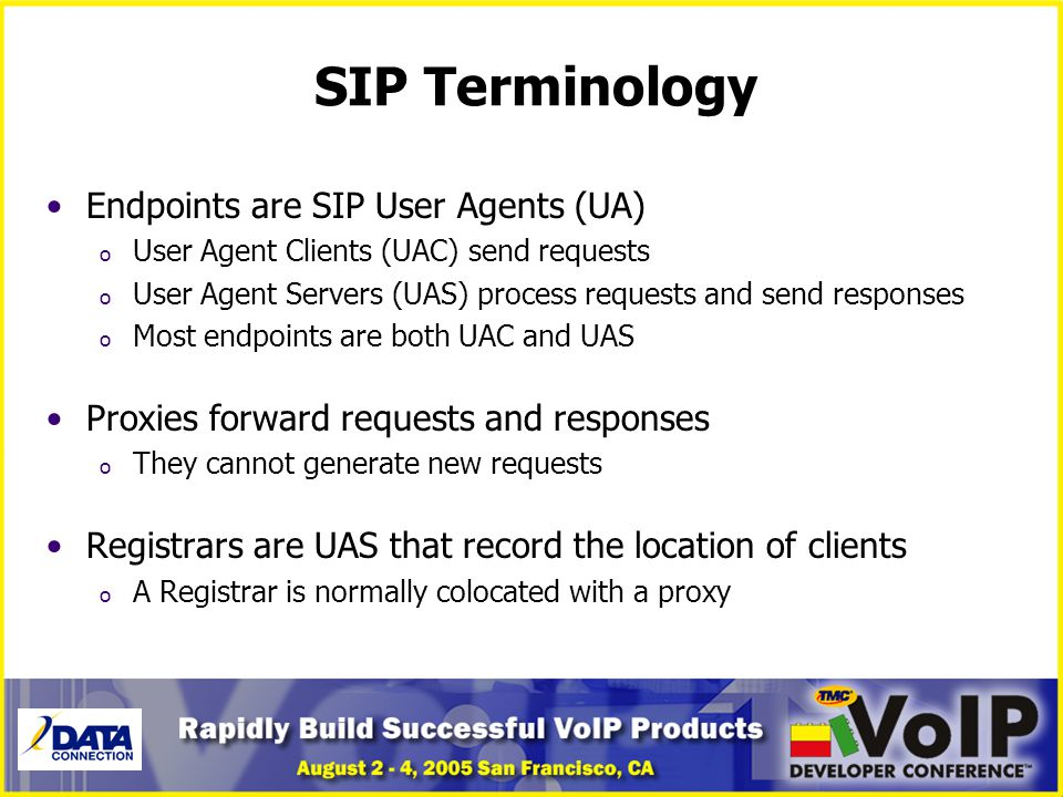 SIP Terminology Endpoints are SIP User Agents (UA)