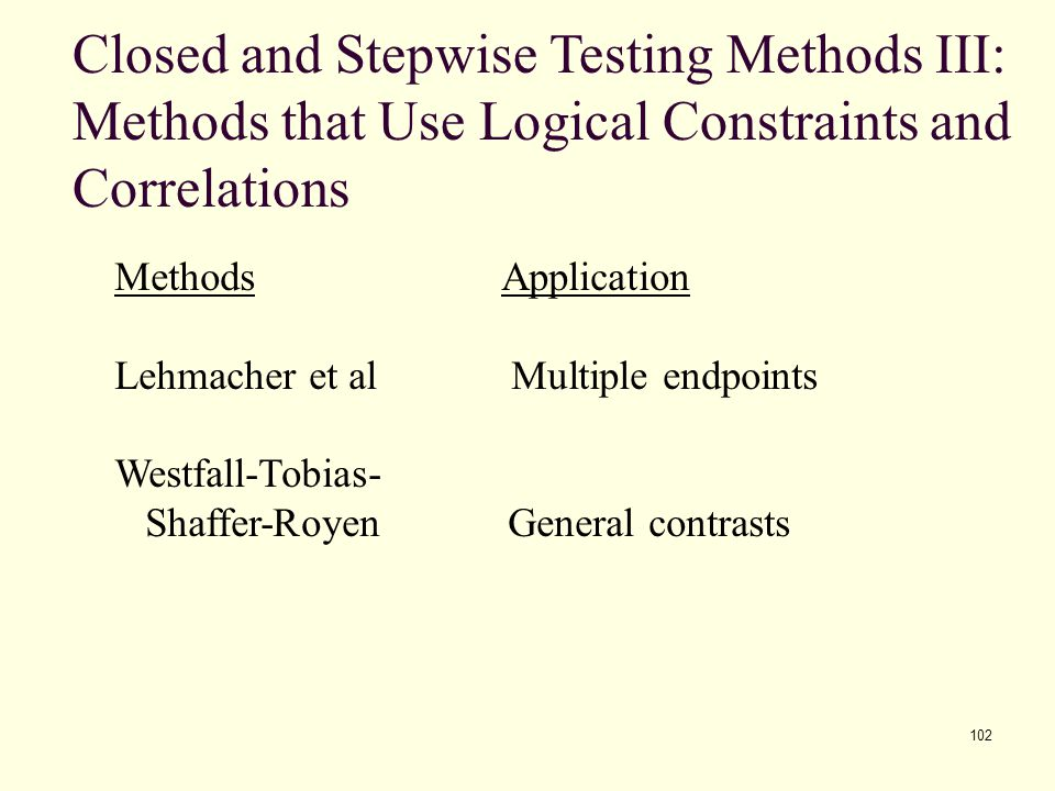 Closed and Stepwise Testing Methods III: Methods that Use Logical Constraints and Correlations