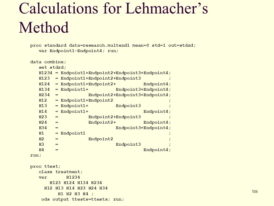 Calculations for Lehmacher's Method
