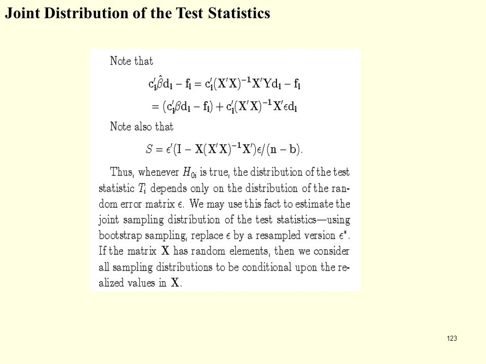 Joint Distribution of the Test Statistics