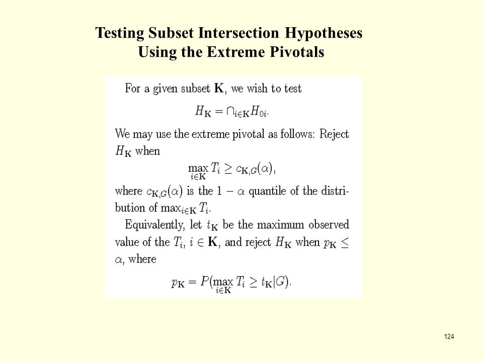 Testing Subset Intersection Hypotheses Using the Extreme Pivotals