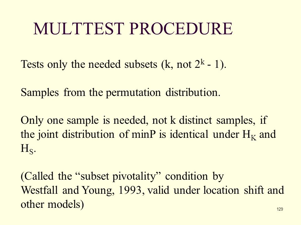 MULTTEST PROCEDURE Tests only the needed subsets (k, not 2k - 1).