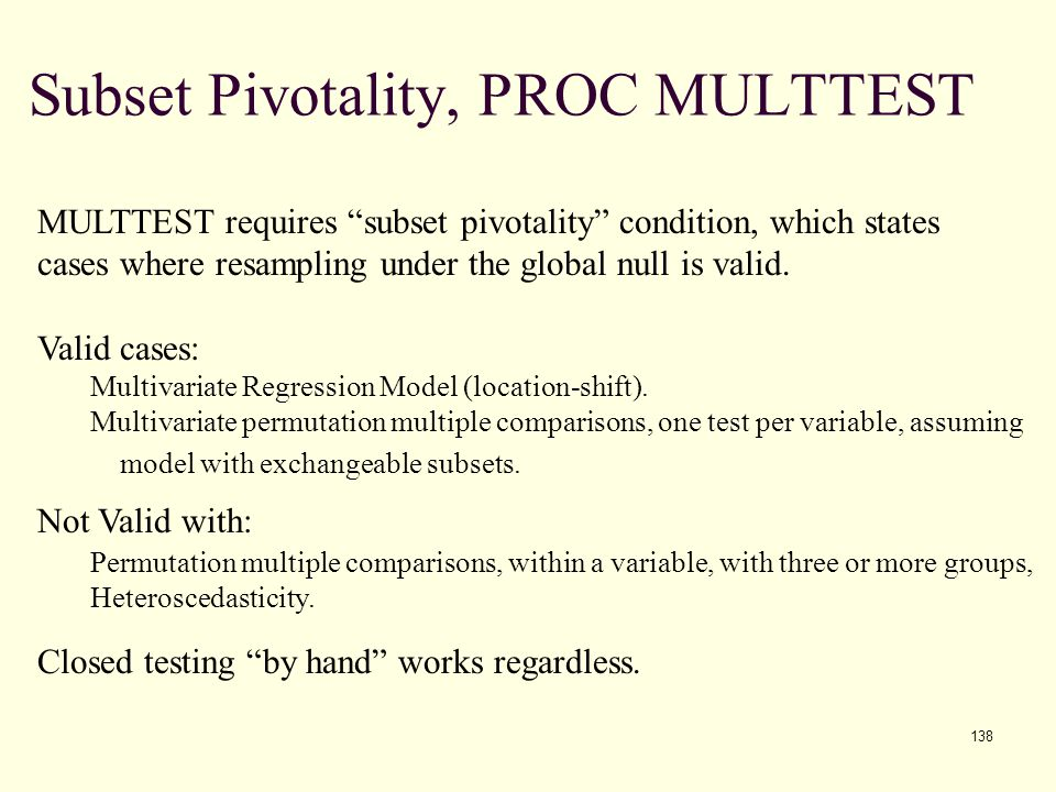 Subset Pivotality, PROC MULTTEST