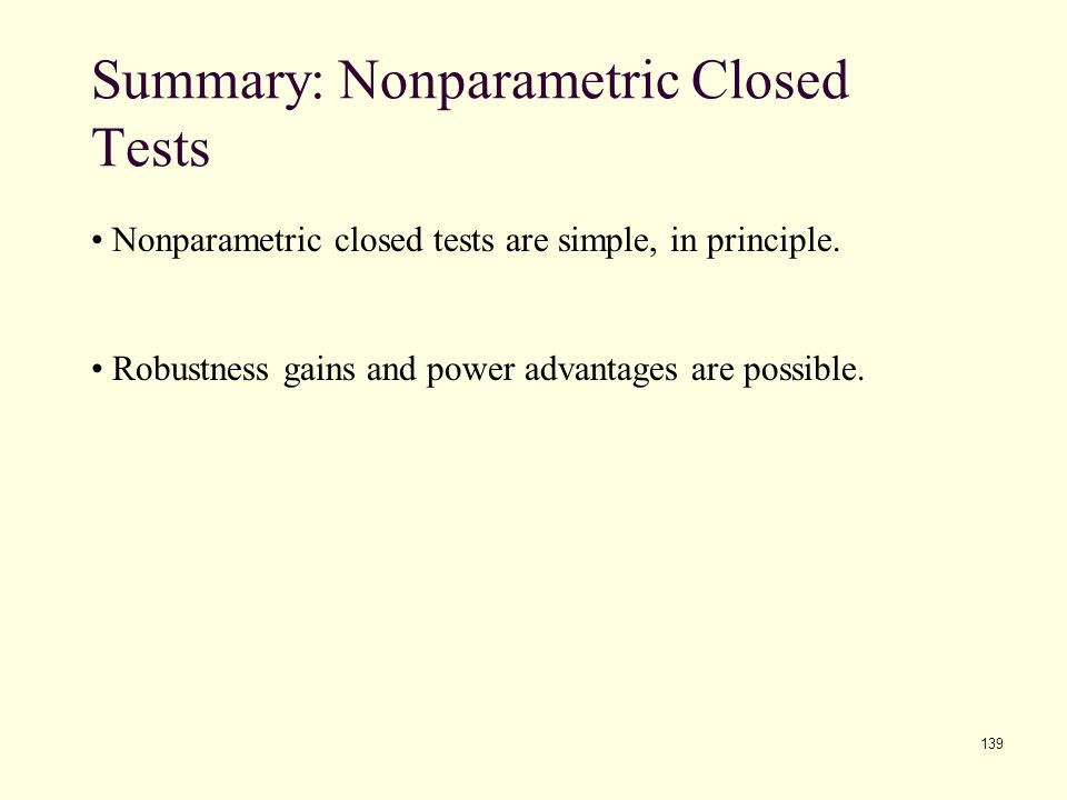 Summary: Nonparametric Closed Tests