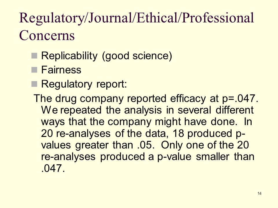 Regulatory/Journal/Ethical/Professional Concerns
