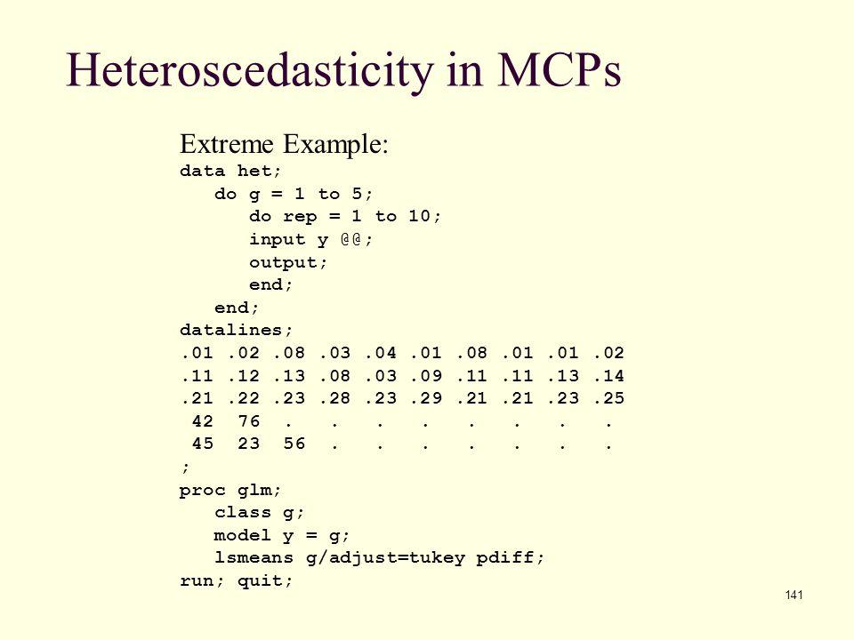Heteroscedasticity in MCPs