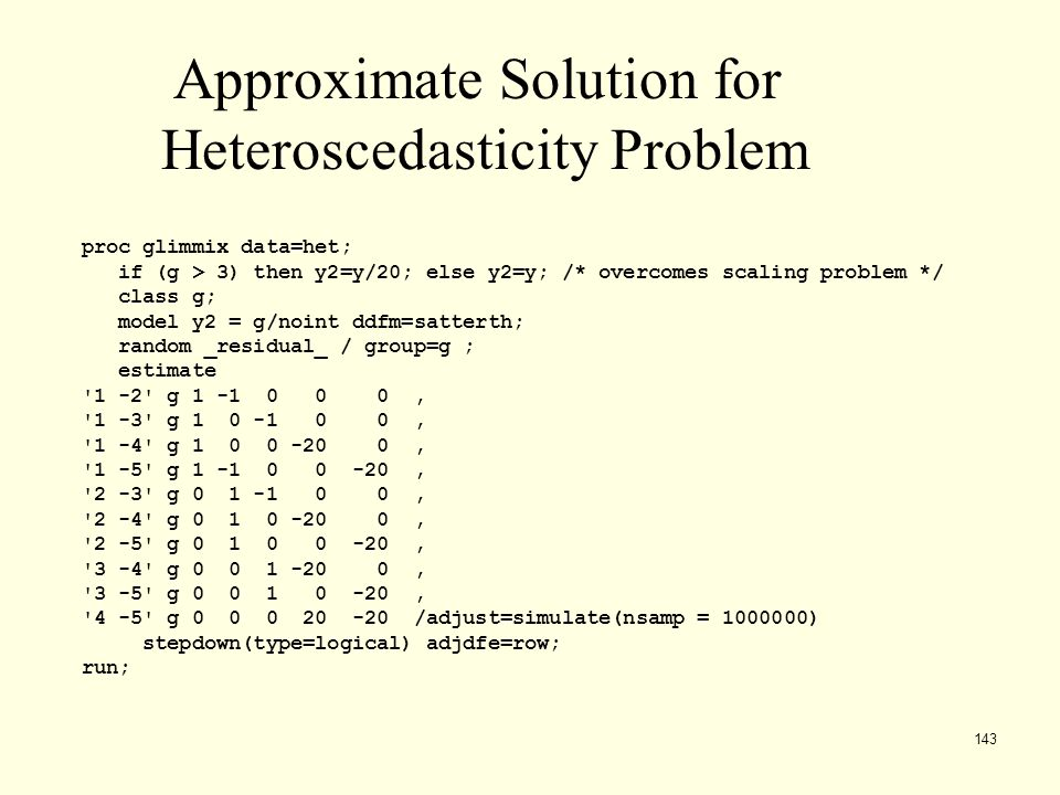 Approximate Solution for Heteroscedasticity Problem