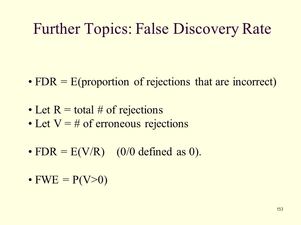 Further Topics: False Discovery Rate
