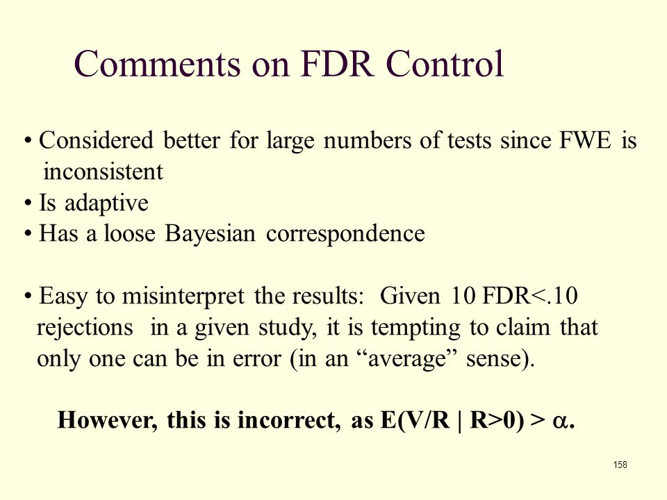 Comments on FDR Control
