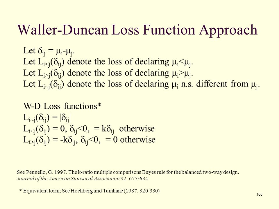 Waller-Duncan Loss Function Approach
