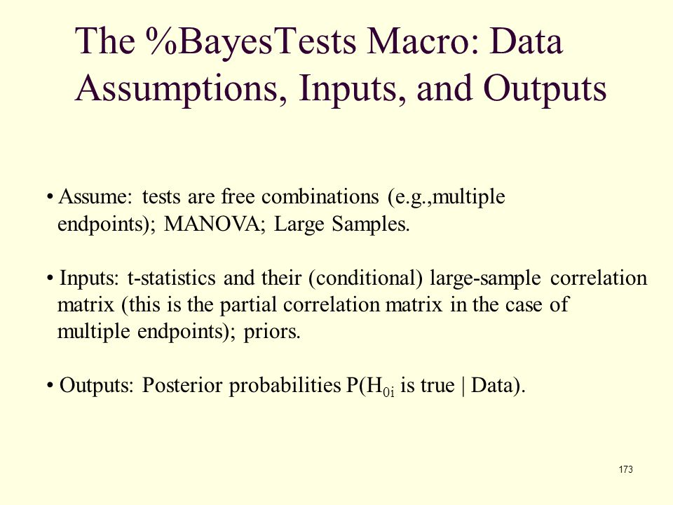 The %BayesTests Macro: Data Assumptions, Inputs, and Outputs