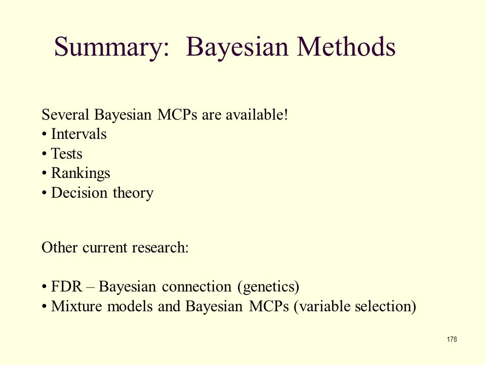 Summary: Bayesian Methods