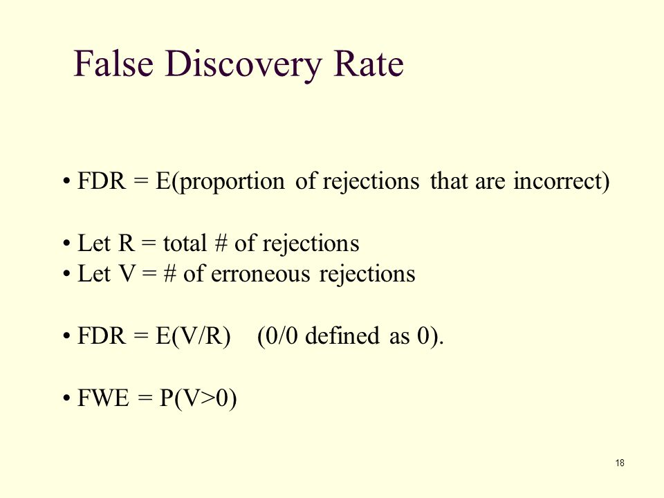 False Discovery Rate FDR = E(proportion of rejections that are incorrect) Let R = total # of rejections.