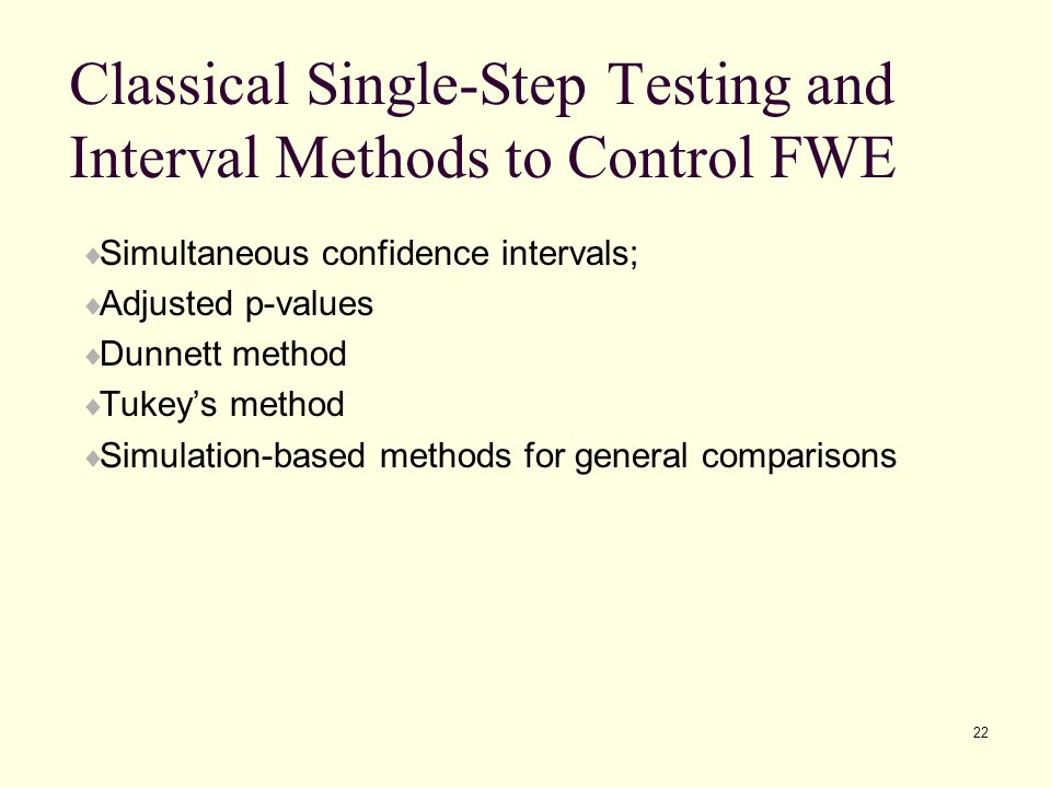 Classical Single-Step Testing and Interval Methods to Control FWE