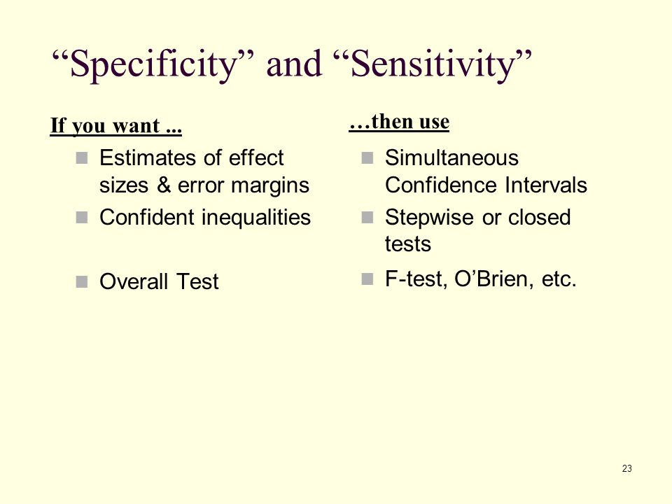 Specificity and Sensitivity