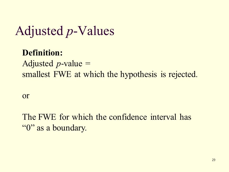 Adjusted p-Values Definition: Adjusted p-value =