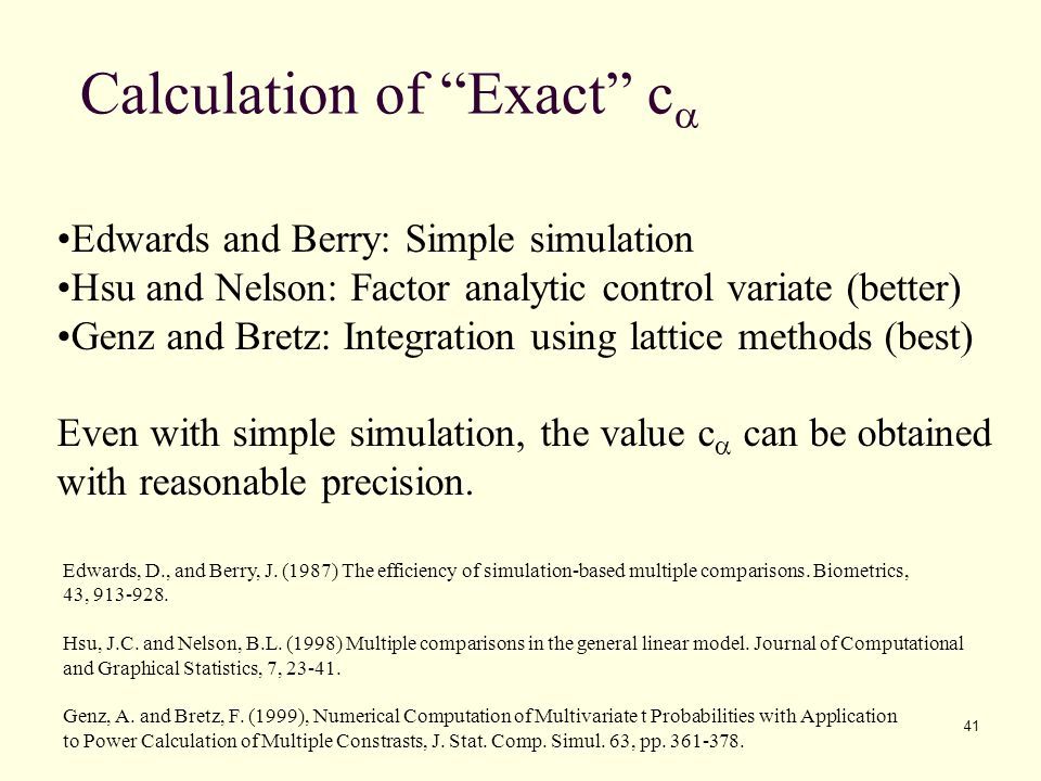 Calculation of Exact ca