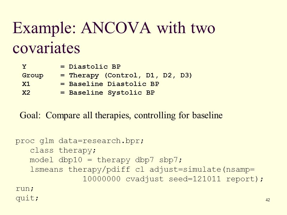 Example: ANCOVA with two covariates