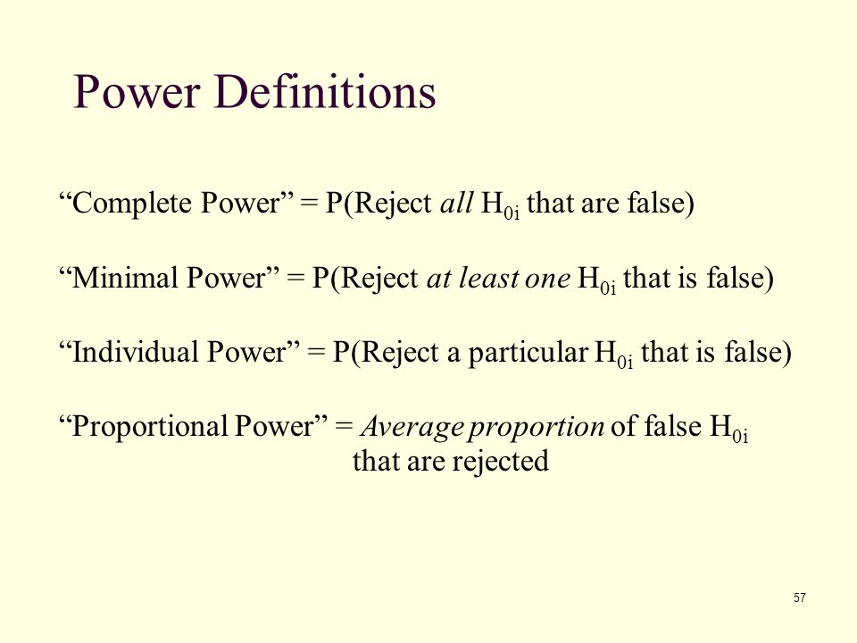 Power Definitions Complete Power = P(Reject all H0i that are false)