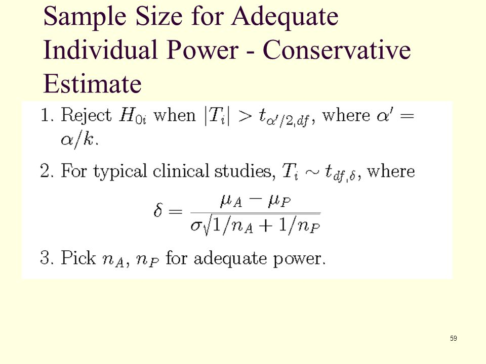 Sample Size for Adequate Individual Power - Conservative Estimate
