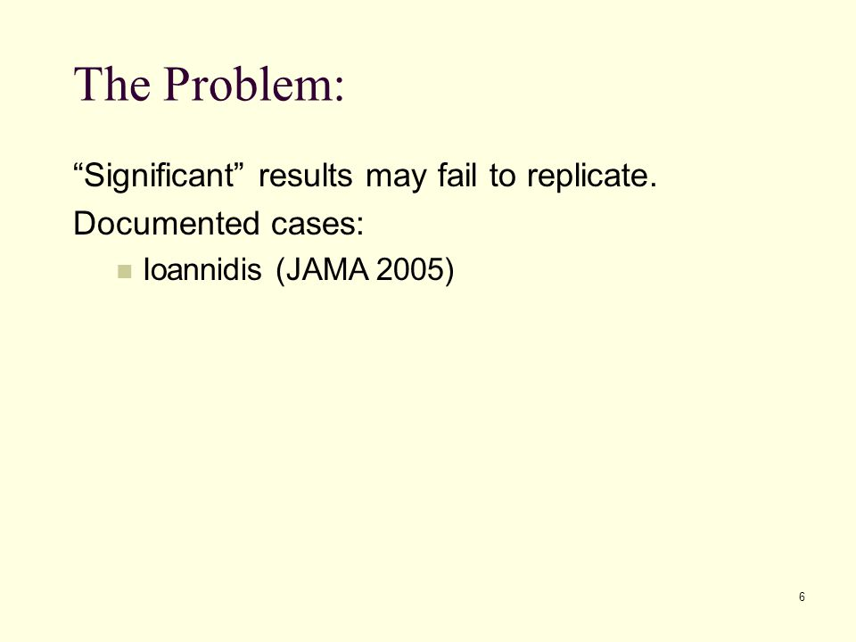 The Problem: Significant results may fail to replicate.