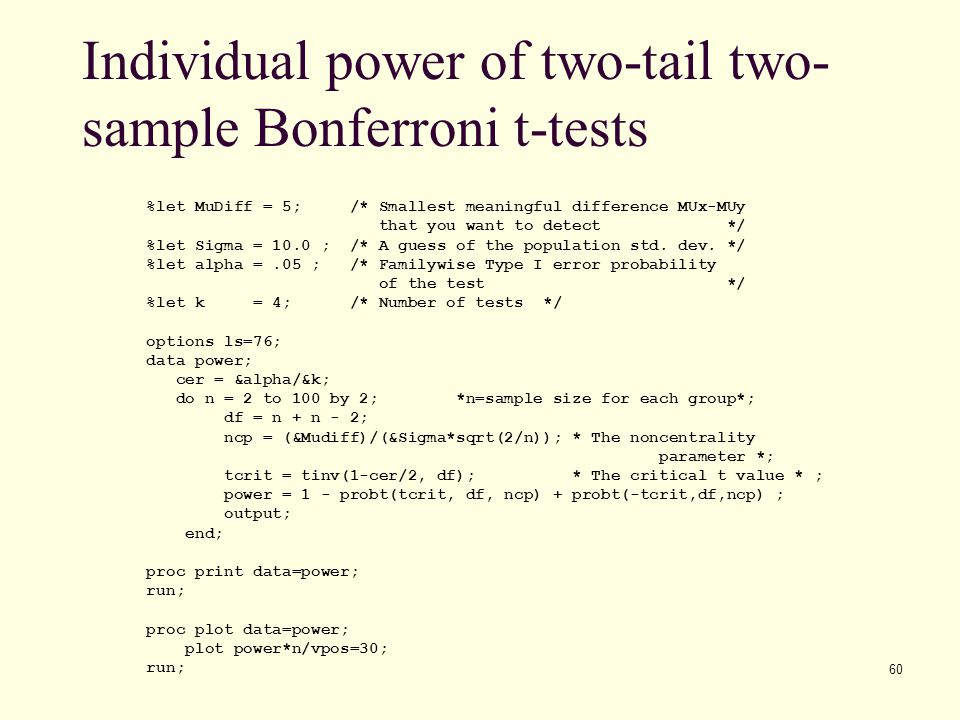 Individual power of two-tail two-sample Bonferroni t-tests