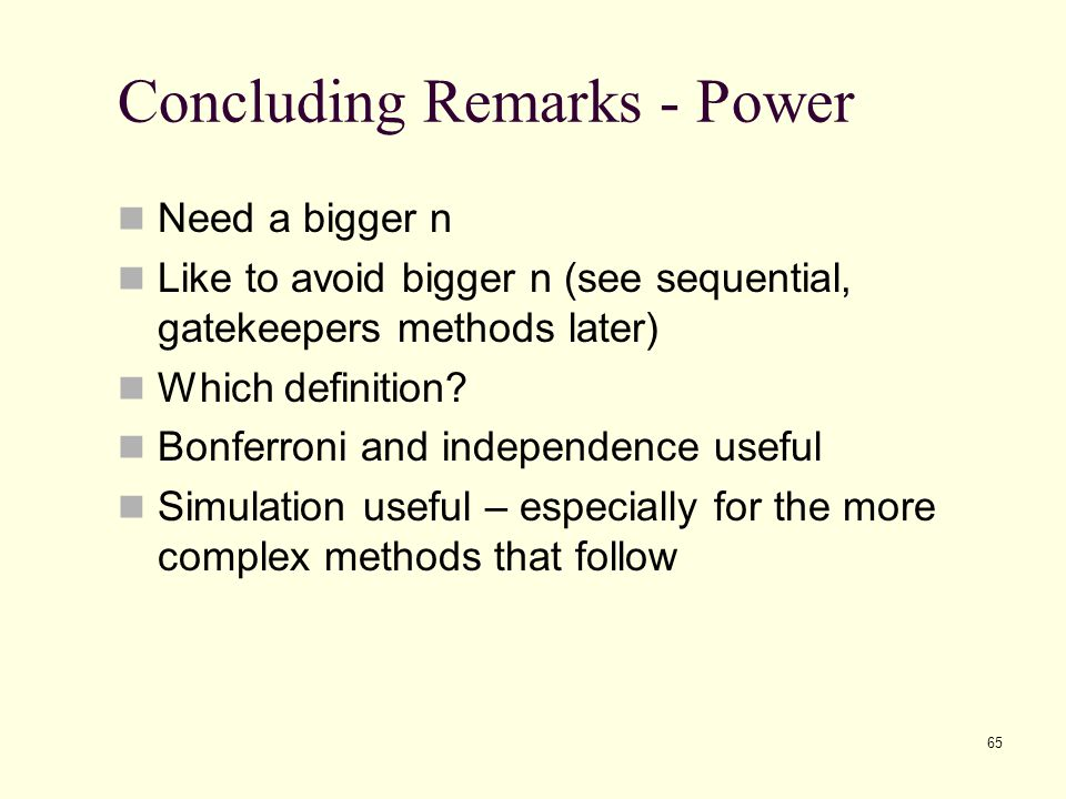 Concluding Remarks - Power