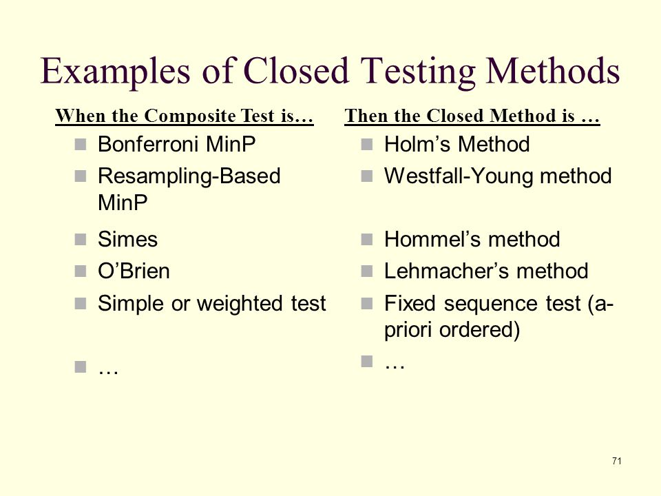 Examples of Closed Testing Methods