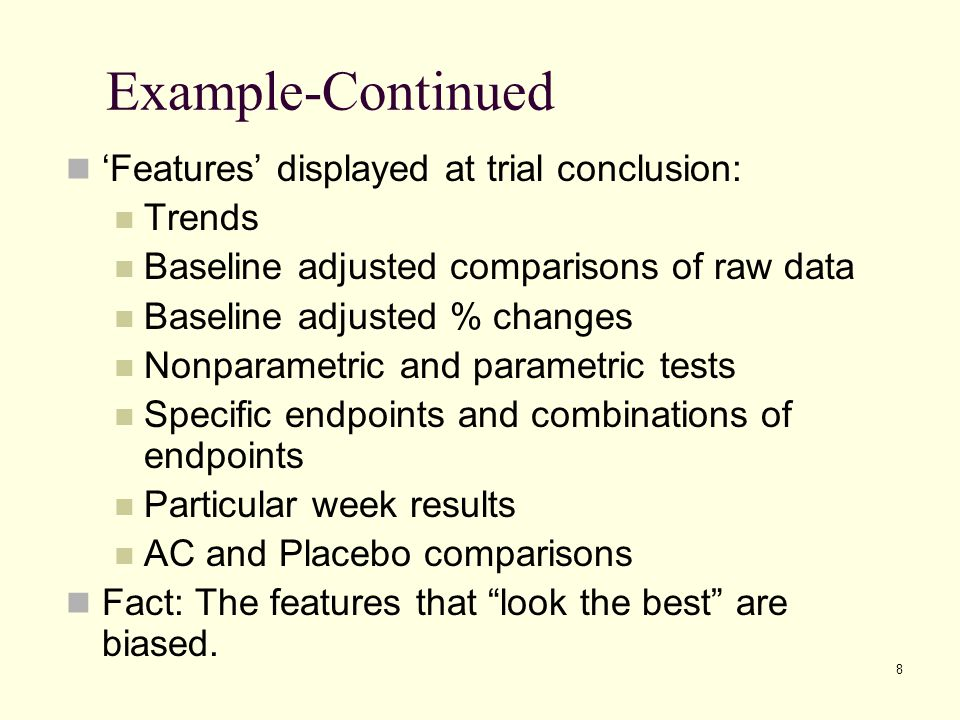 Example-Continued 'Features' displayed at trial conclusion: Trends