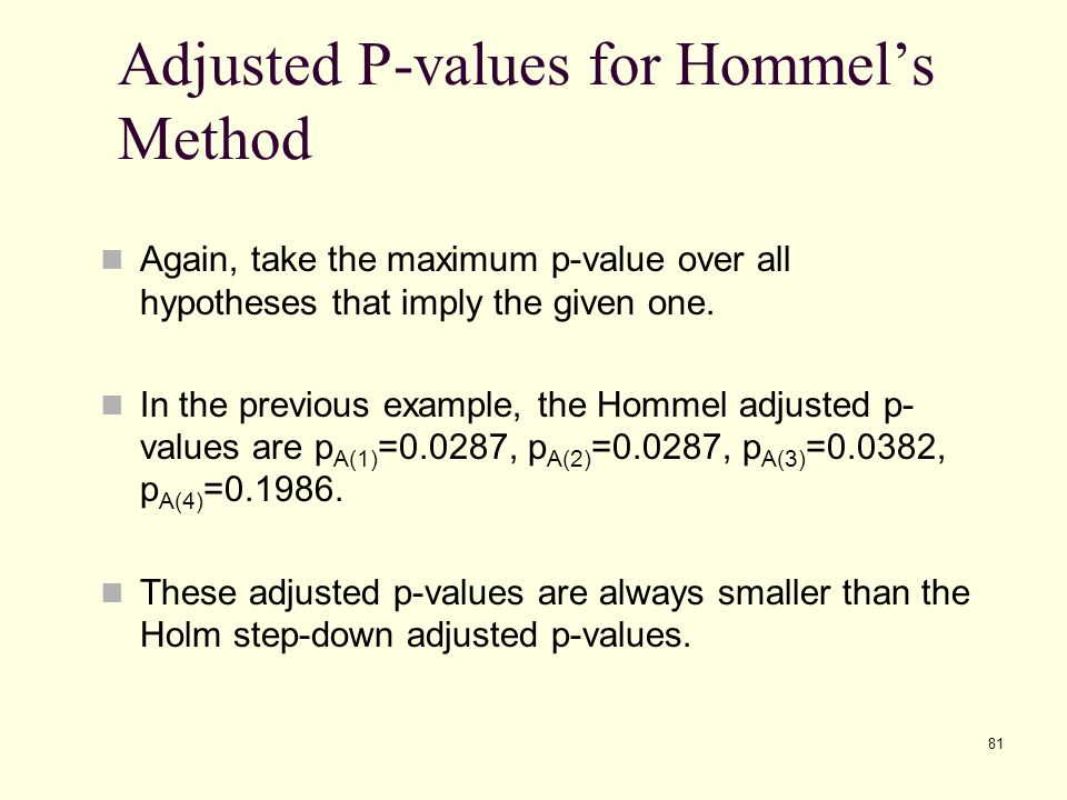 Adjusted P-values for Hommel's Method