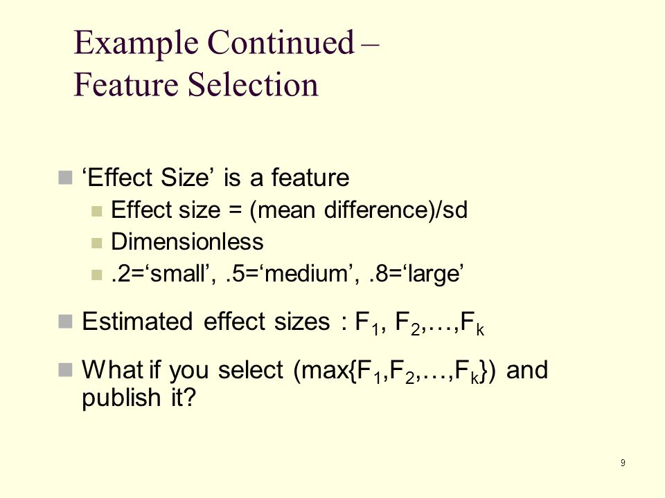 Example Continued – Feature Selection
