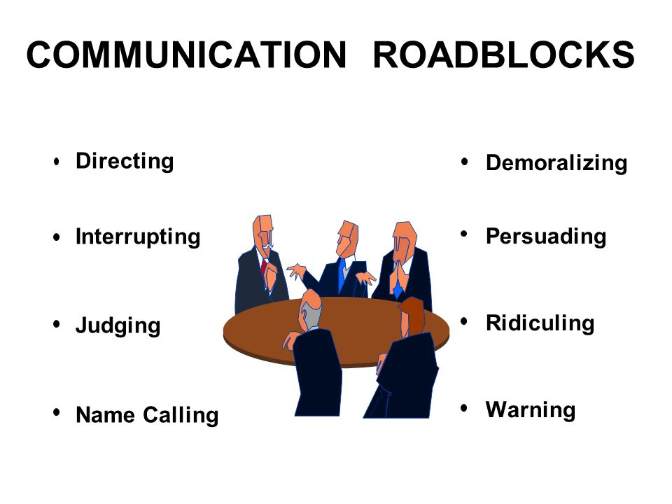 12 roadblocks to communication Roadblocks to effective communication physical barriers one of the most common of all barriers off communication is the physical barrier, ie, physically separated large working areas.