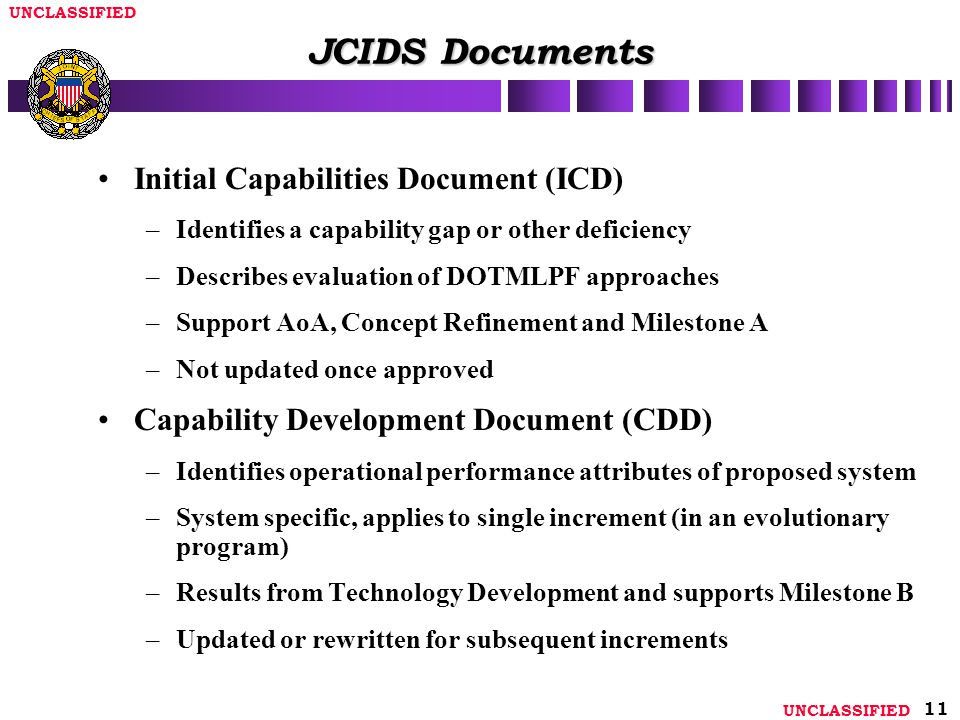 JCIDS Documents Initial Capabilities Document (ICD)