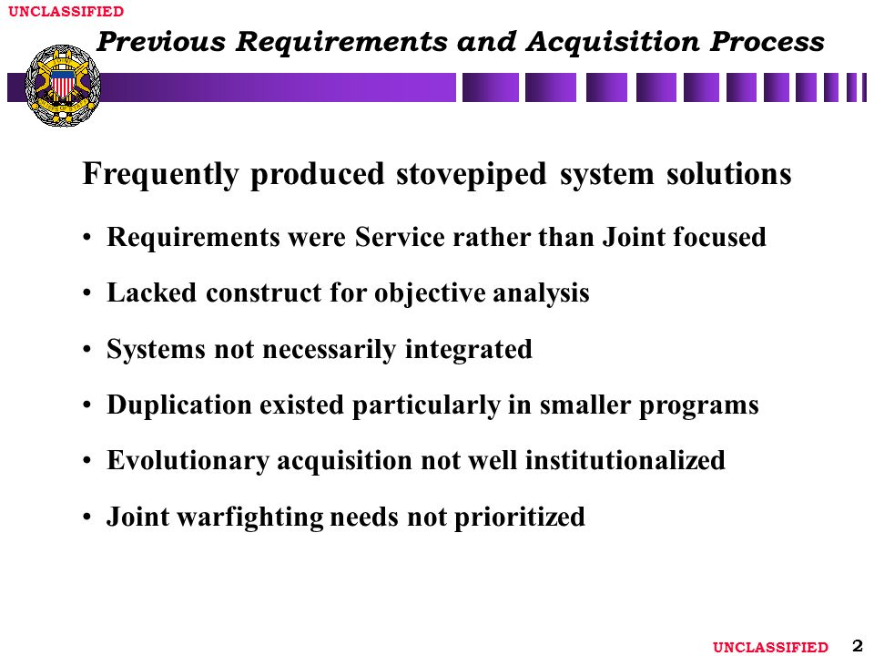 Previous Requirements and Acquisition Process
