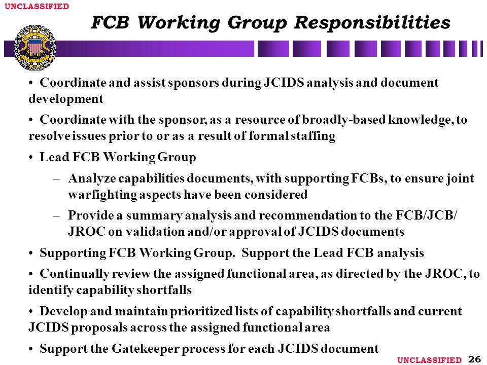 FCB Working Group Responsibilities