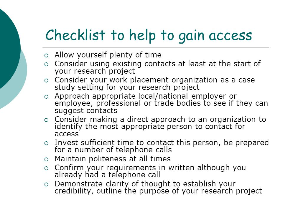 Checklist to help to gain access