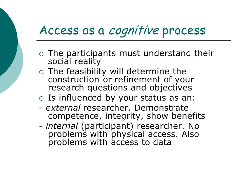 Access as a cognitive process