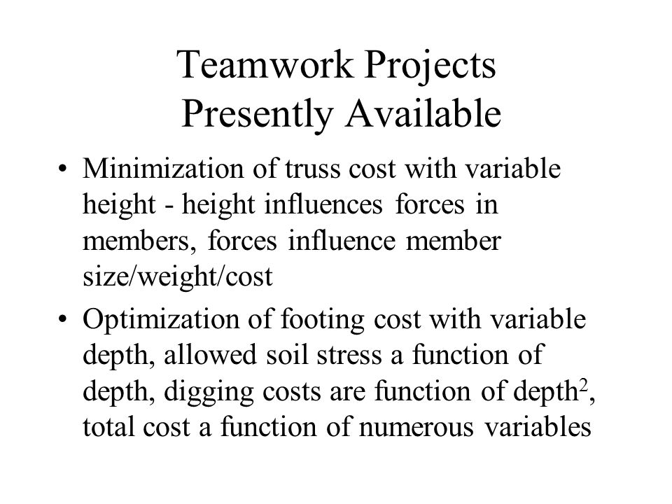 Teamwork Projects Presently Available