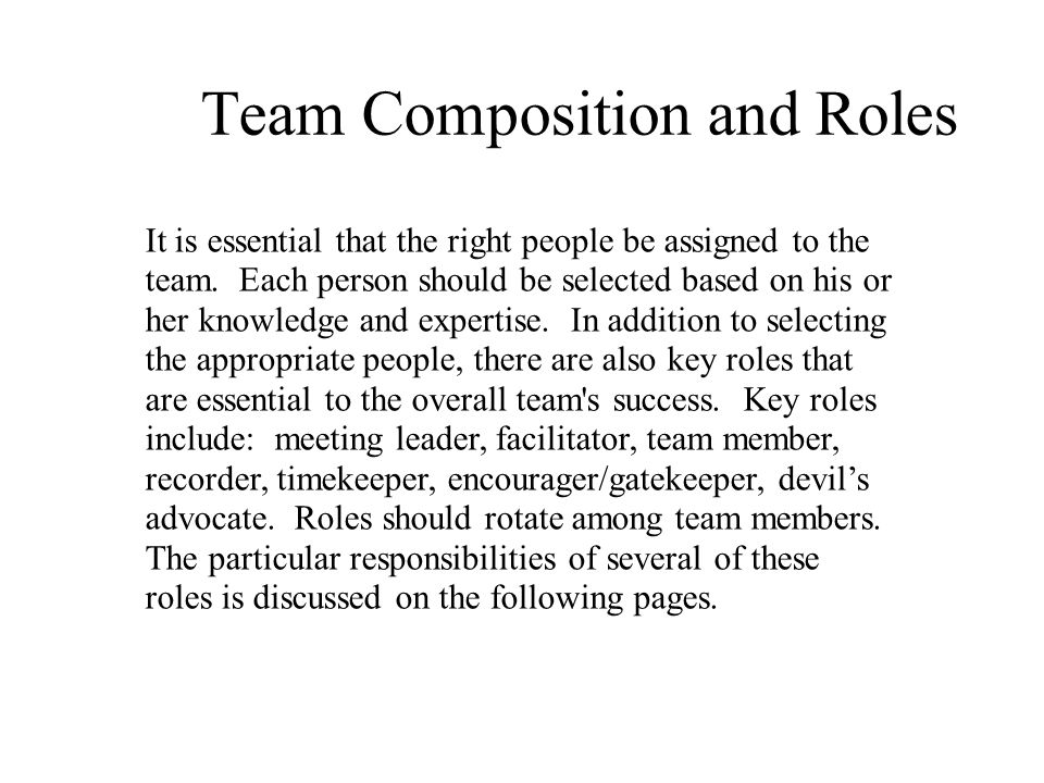 Team Composition and Roles