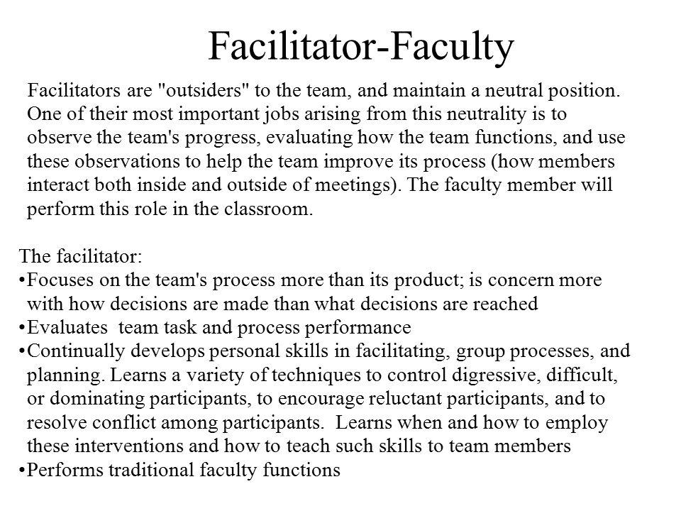 Facilitator-Faculty The facilitator: