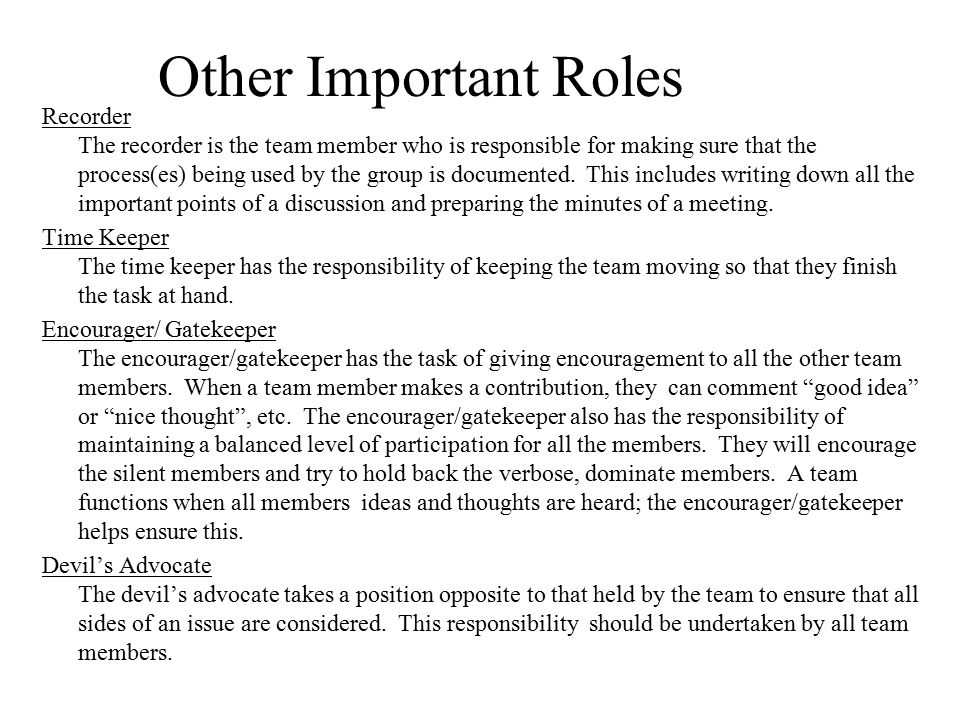 Other Important Roles