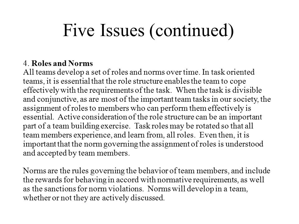 Five Issues (continued)