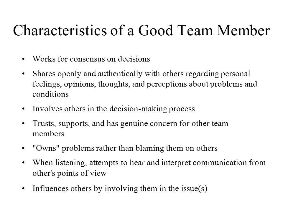 Characteristics of a Good Team Member