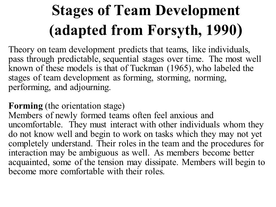 Stages of Team Development (adapted from Forsyth, 1990)