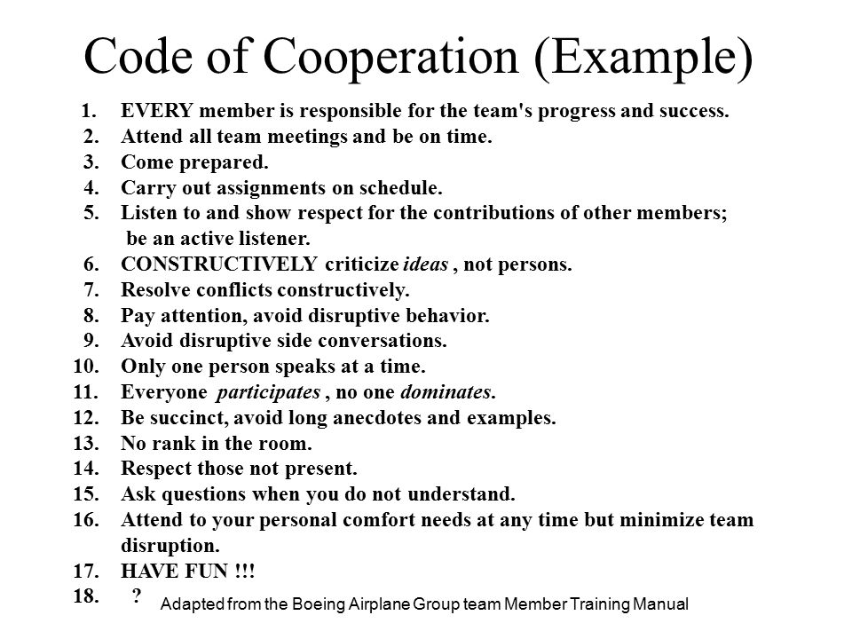 Code of Cooperation (Example)