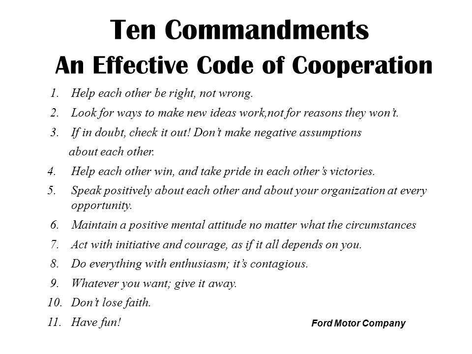 Ten Commandments An Effective Code of Cooperation