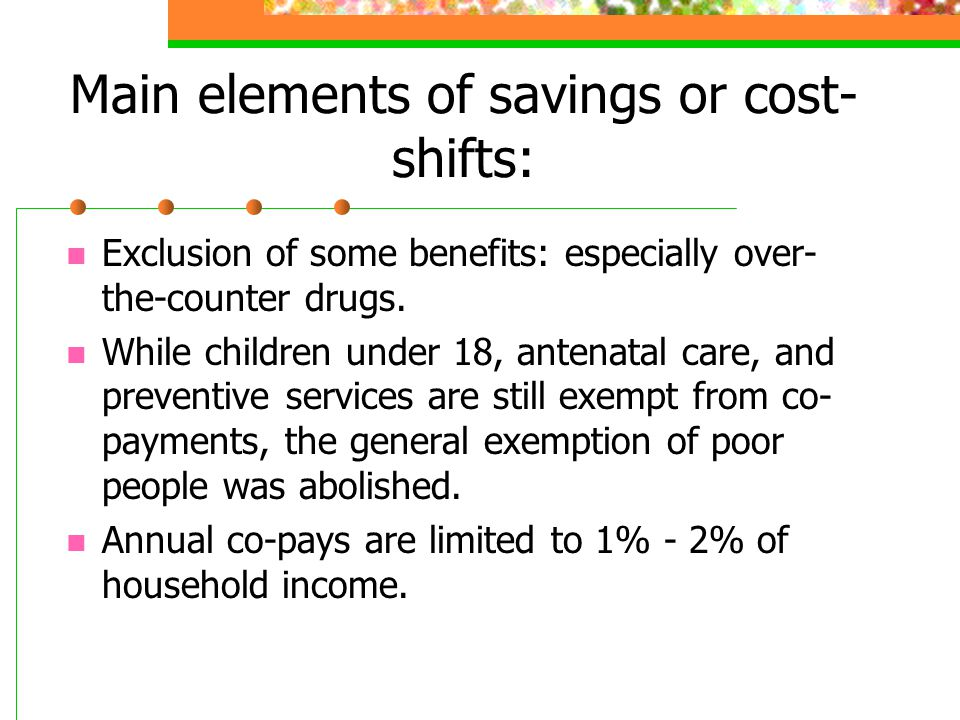 Main elements of savings or cost-shifts: