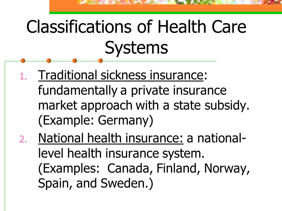 Classifications of Health Care Systems